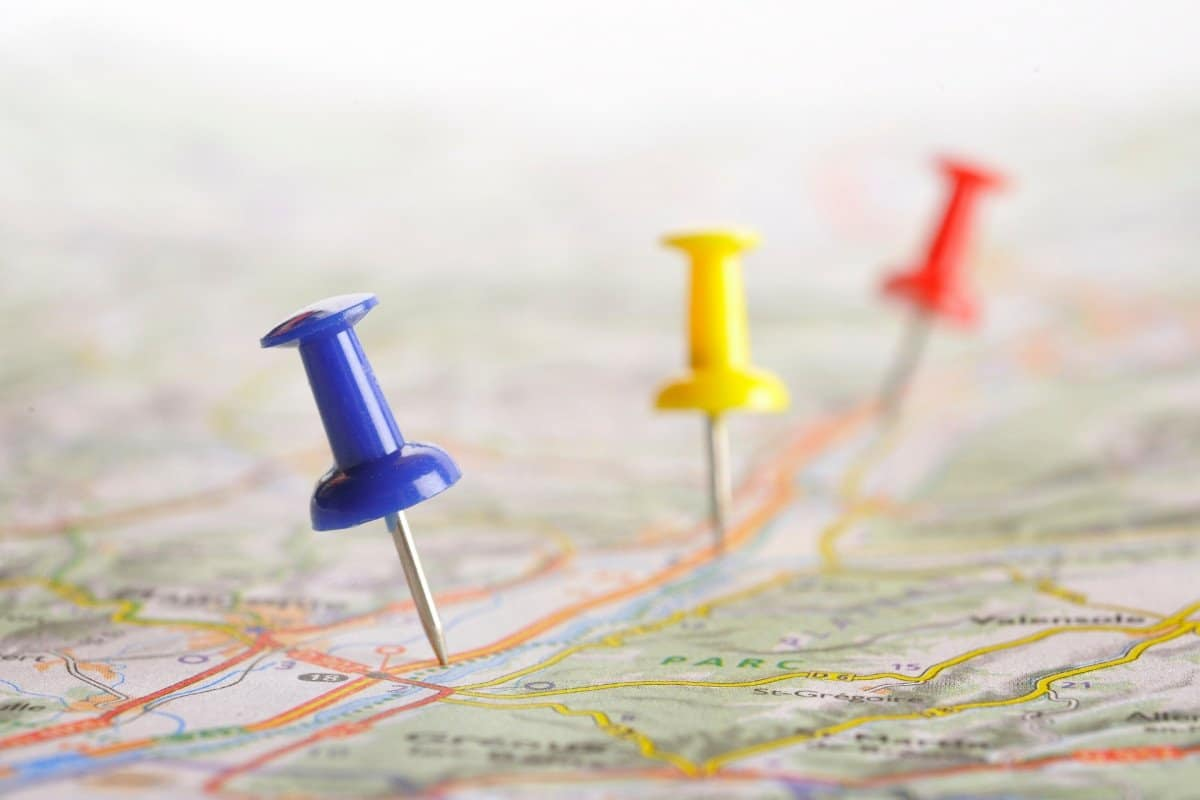 Push Pins on a Map