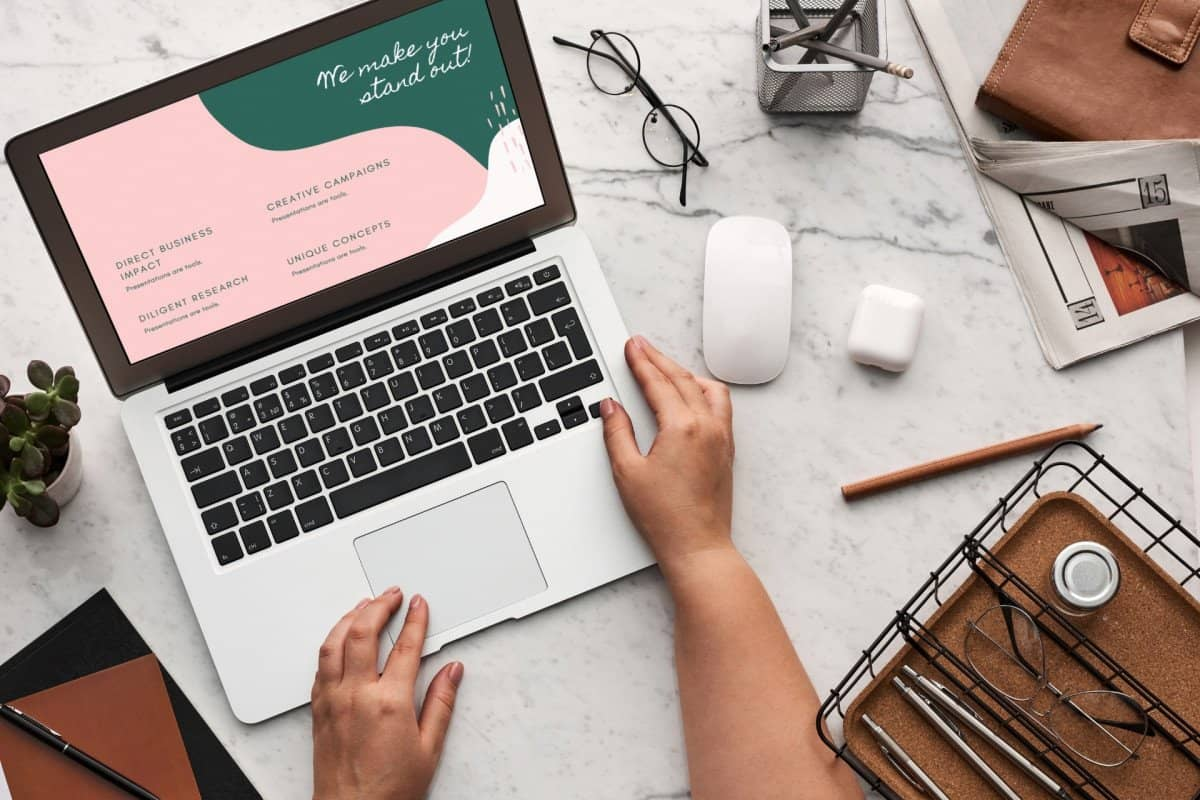 Digital Marketing with Laptop on a Desk