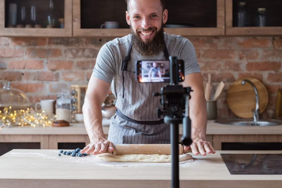 Baker Teaching an Online Course on How to Bake with Camera
